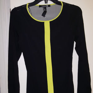 nwt black and yellow f21 long sleeve blouse